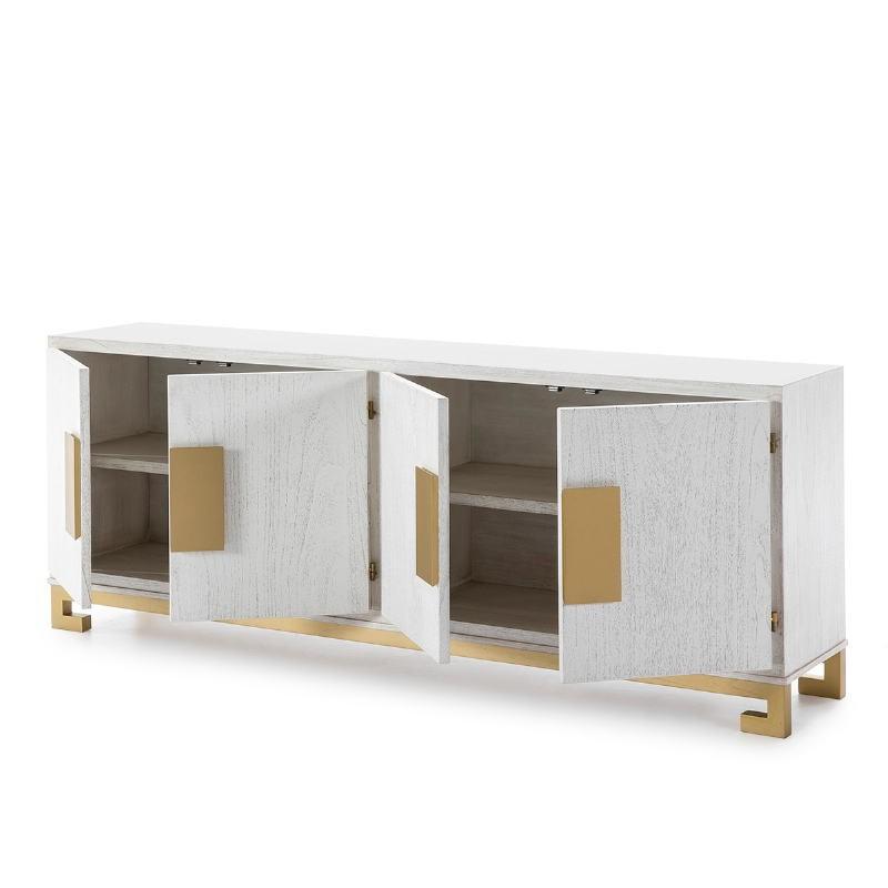 Sideboard 4 Doors 201X43X78 Wood White Golden - image 51381