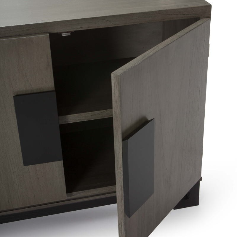 Sideboard 4 Doors 201X43X78 Wood Grey Black - image 51384
