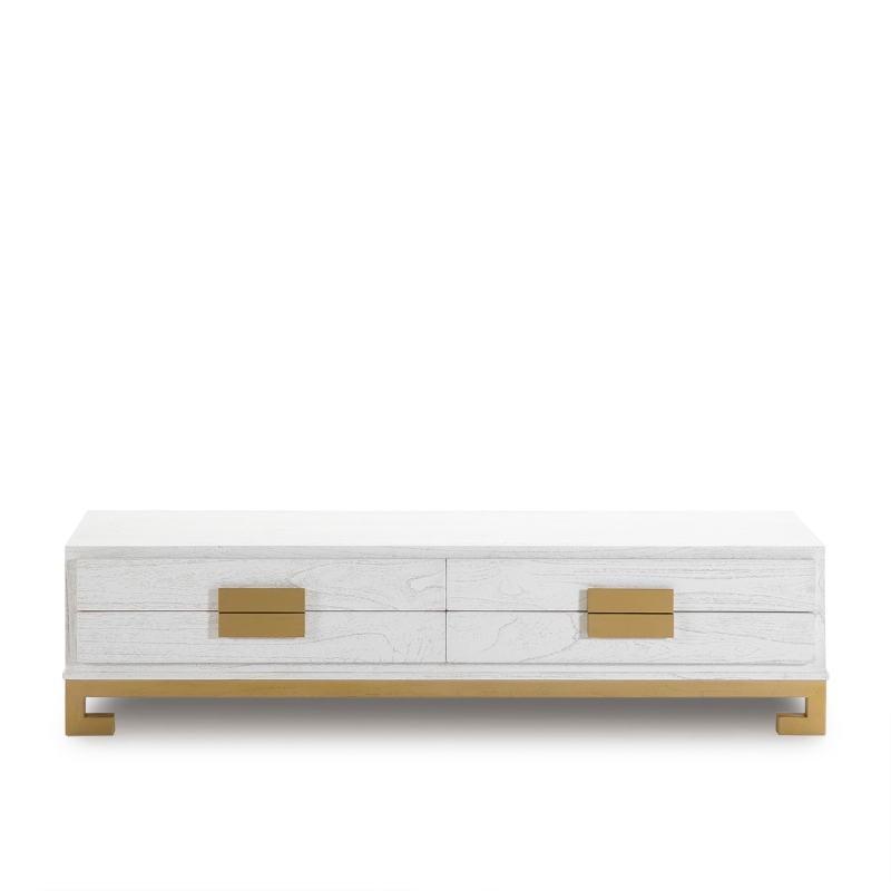 Meuble TV 4 tiroirs 161x45x45 Bois Blanc Doré - image 51394