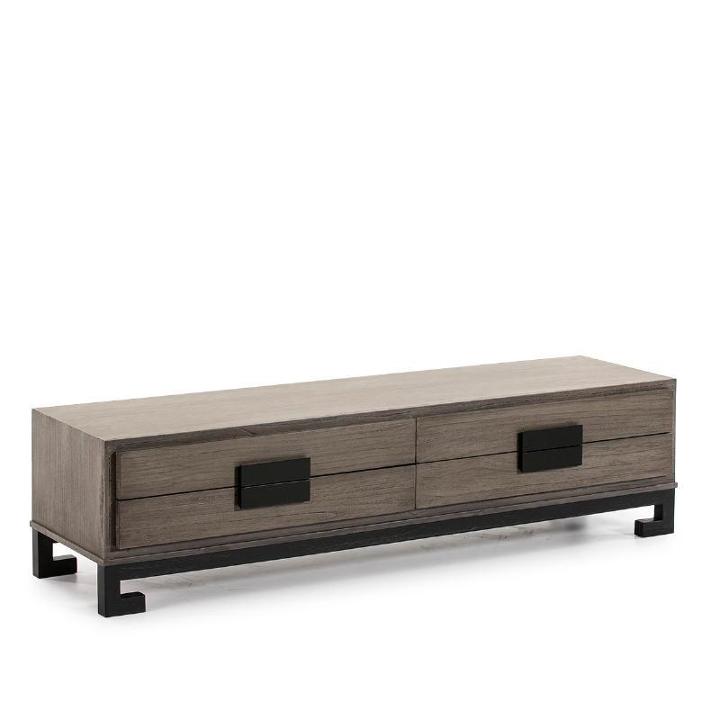 Meuble TV 4 tiroirs 161x45x45 Bois Gris Noir