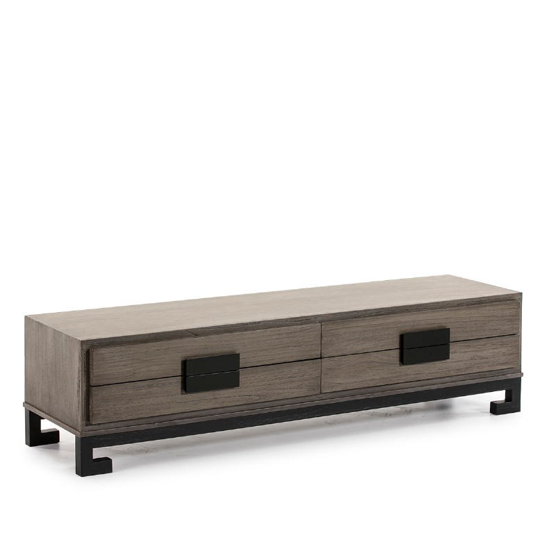 Tv Furniture 4 Drawers 161X45X45 Wood Grey Black