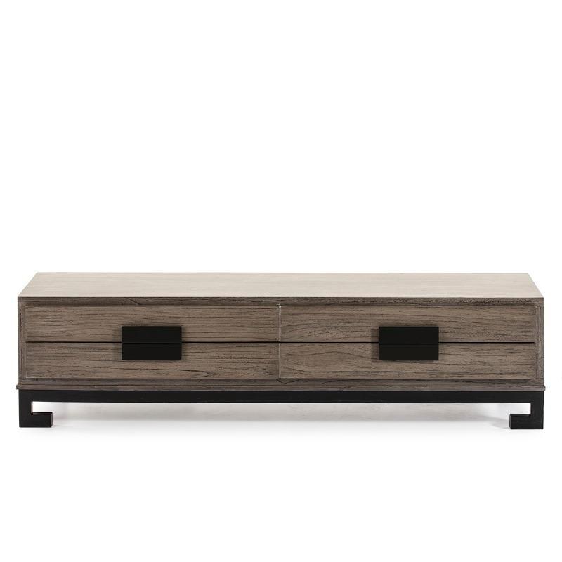 Meuble TV 4 tiroirs 161x45x45 Bois Gris Noir - image 51398