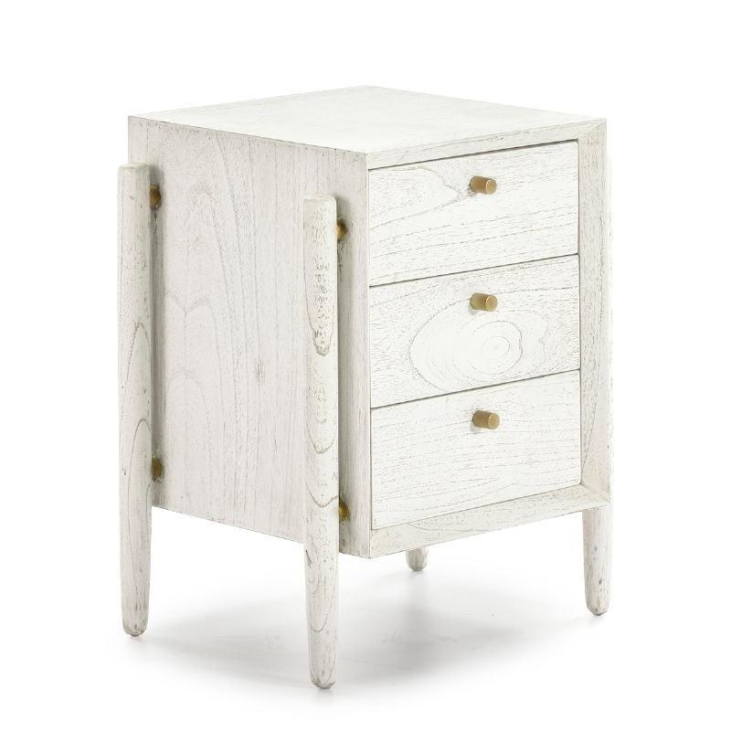 Nachttisch 3 Schubladen 50X40X61 Weißes Holz