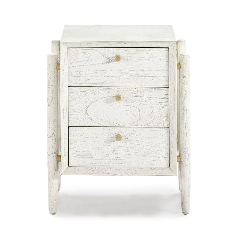 Bedside Table 3 Drawers 50X40X61 Wood White - image 51402