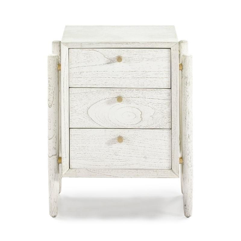 Nachttisch 3 Schubladen 50X40X61 Weißes Holz - image 51402