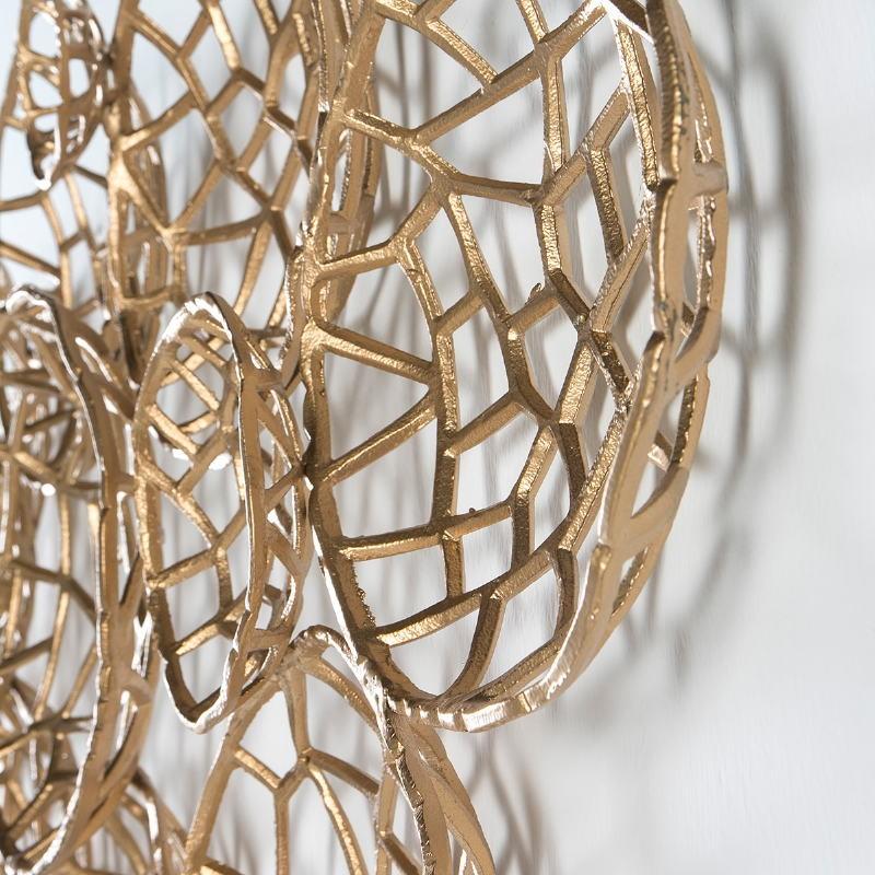 Wandskulptur 120X10X70 Metall Golden - image 51416