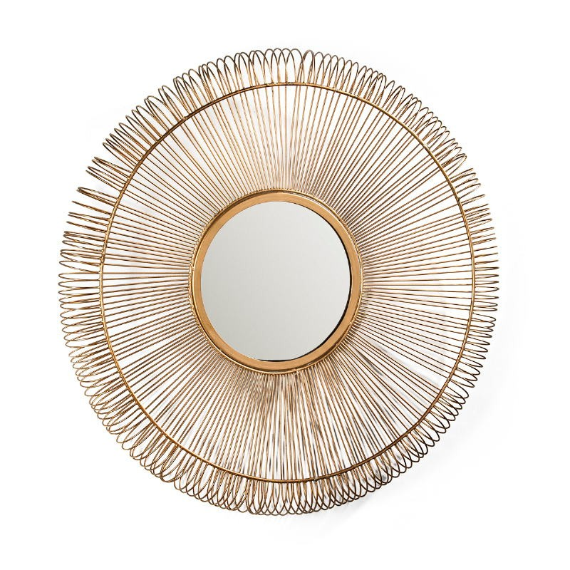 Mirror 76X7X76 Glass Metal Golden