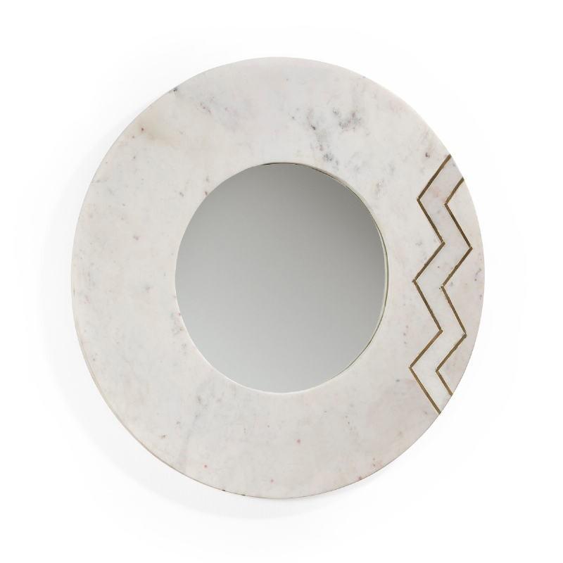 Miroir 69x2x69 Verre Marbre Blanc Métal Doré