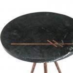 Table d'appoint, bout de canapé, bout de canapé 41x41x46 Marbre Noir Métal Doré Antique