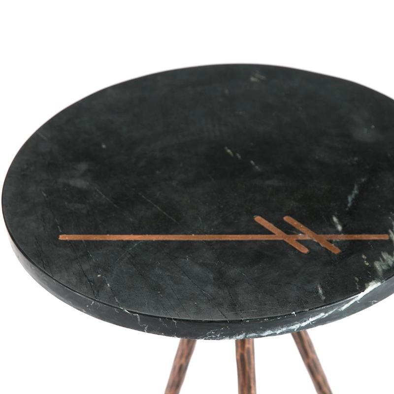 Table d'appoint, bout de canapé, bout de canapé 41x41x46 Marbre Noir Métal Doré Antique - image 51463