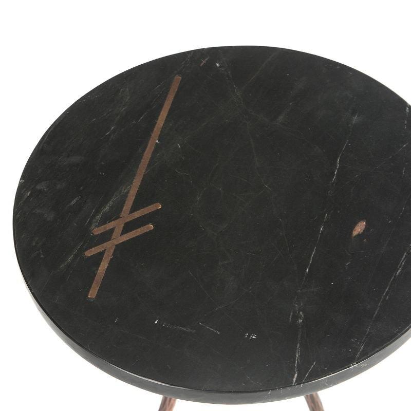 Table d'appoint, bout de canapé, bout de canapé 41x41x46 Marbre Noir Métal Doré Antique - image 51464