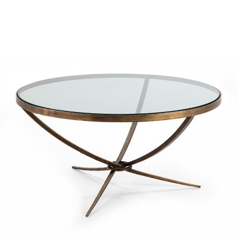 Table basse 92x92x47 Verre Métal Doré Antique