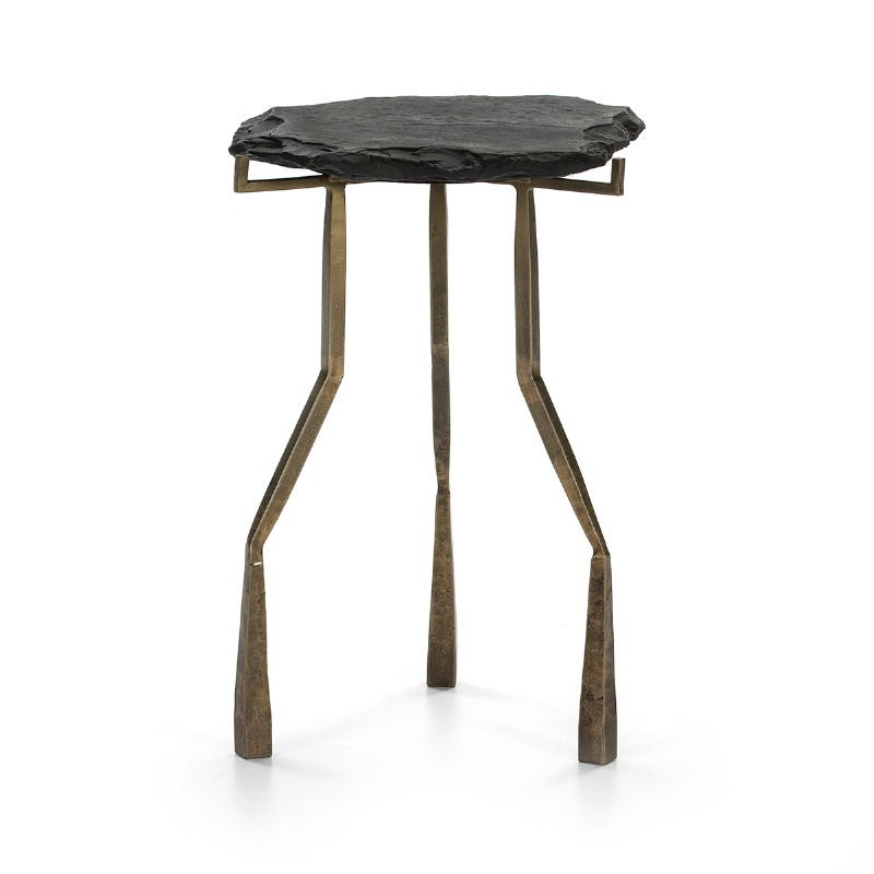 Side Table 49X46X65 Stone Black Metal Golden Antique - image 51475