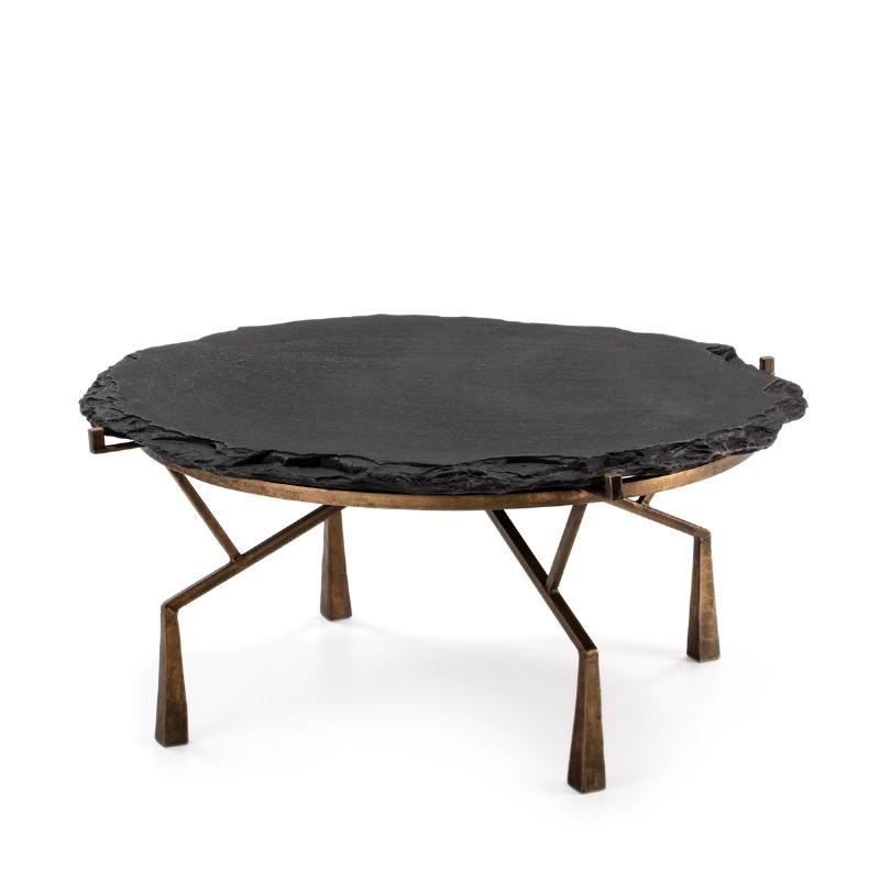 Table basse 95x95x41 Pierre Noir Métal Doré Antique