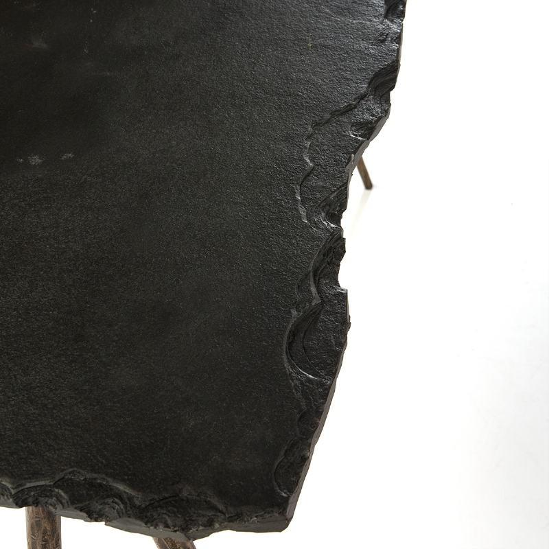 Console 107X33X74 Stone Black Metal Golden Antique - image 51480