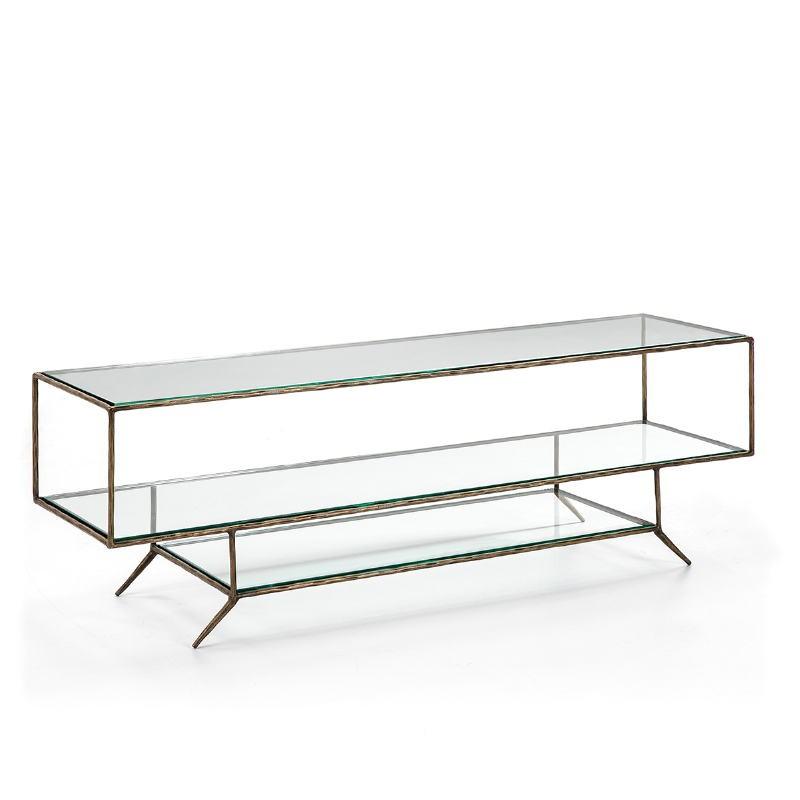 Tv Furniture 152X40X50 Glass Metal Golden