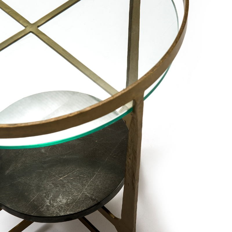 Table d'appoint, bout de canapé, bout de canapé 51x51x61 Verre Métal Doré Pierre Noir - image 51493