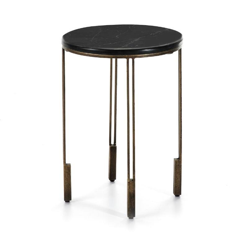 Side Table 41X41X59 Metal Golden Stone Black
