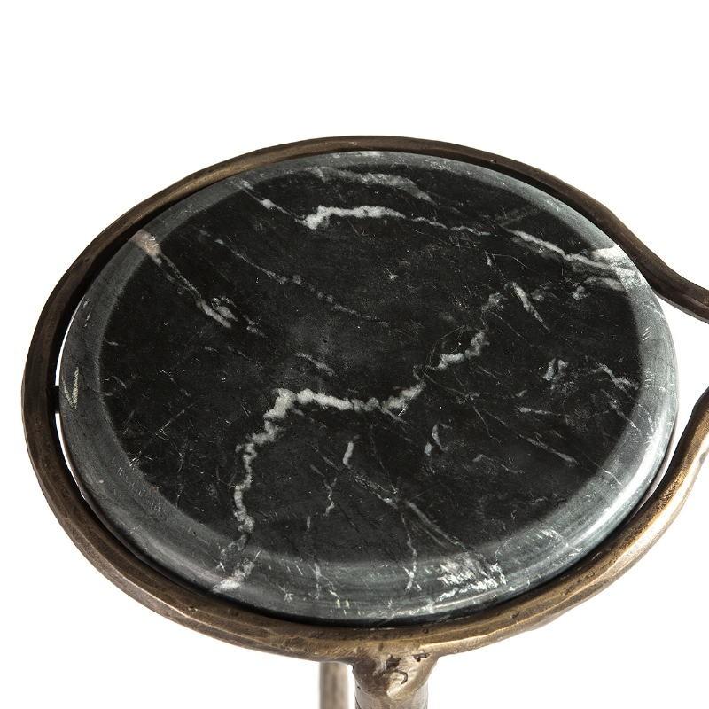 Table d'appoint, bout de canapé 68x32x62 Marbre Blanc Noir Fer Forgé Doré - image 51502