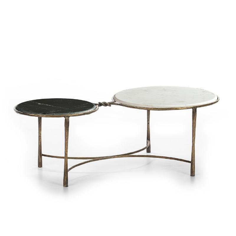 Coffee Table 120X62X40 Marble White Black Wrought Iron Golden