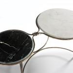 Table basse 120x62x40 Marbre Blanc Noir Fer Forgé Doré