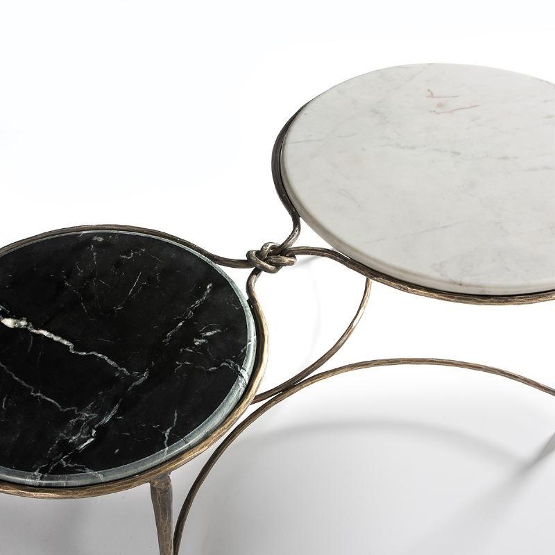 Coffee Table 120X62X40 Marble White Black Wrought Iron Golden - image 51511