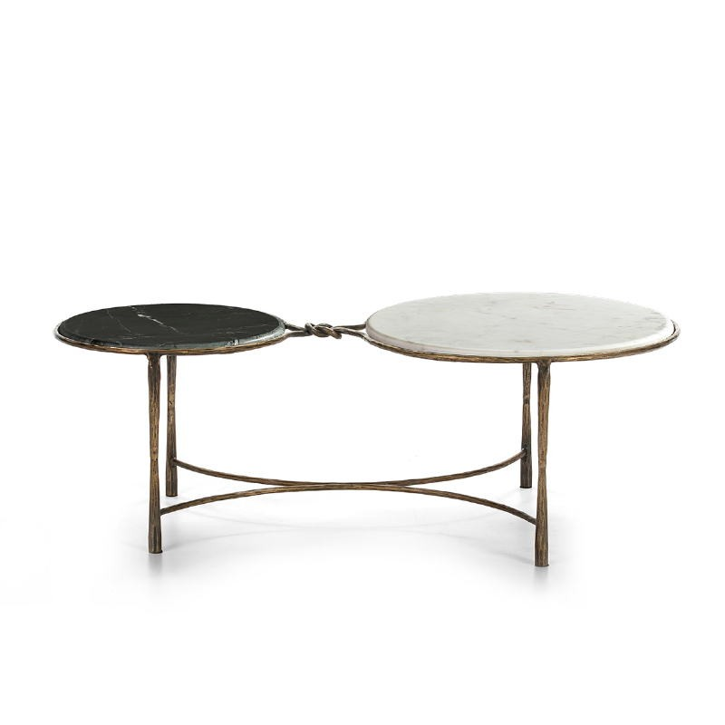 Coffee Table 120X62X40 Marble White Black Wrought Iron Golden - image 51513