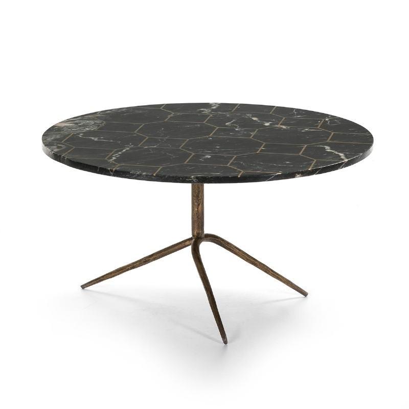 Table basse 80x80x44 Marbre Noir Métal Doré Antique - image 51514