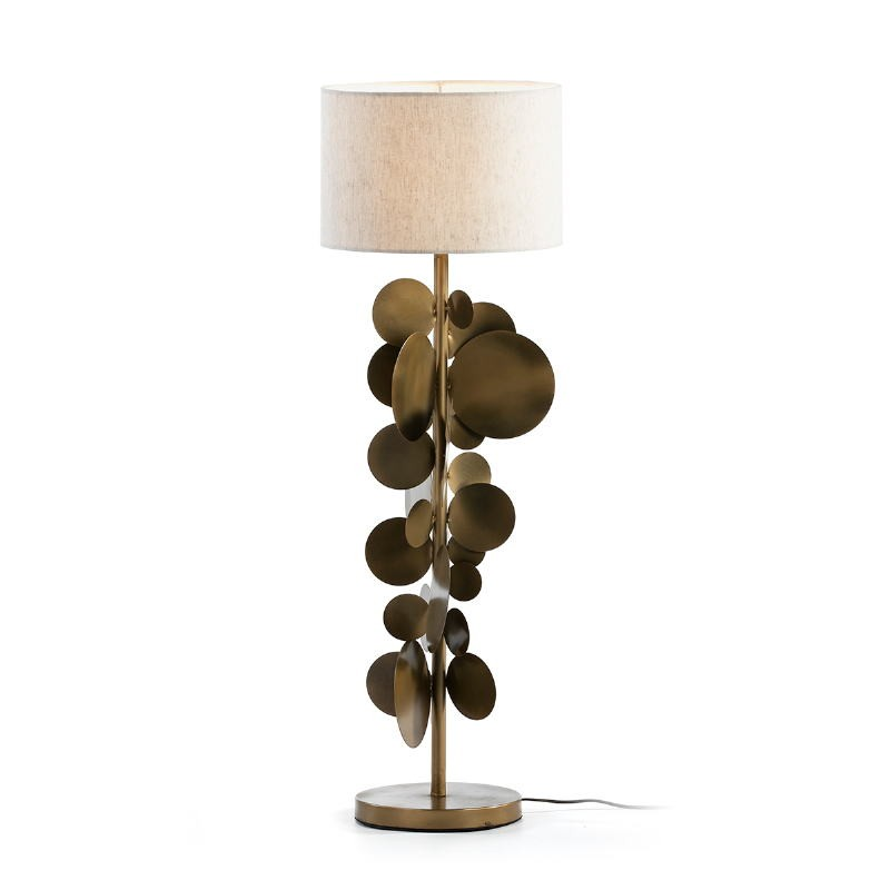 Lampada Da Tavolo Con Paralume 30X30X71 Metallo Dorato