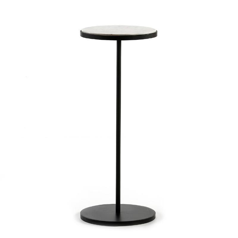 Table d'appoint, bout de canapé, bout de canapé 33x33x83 Marbre Blanc Métal Noir