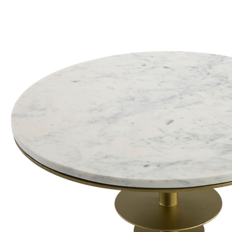 Side Table 50X50X58 Marble White Metal Golden - image 51546