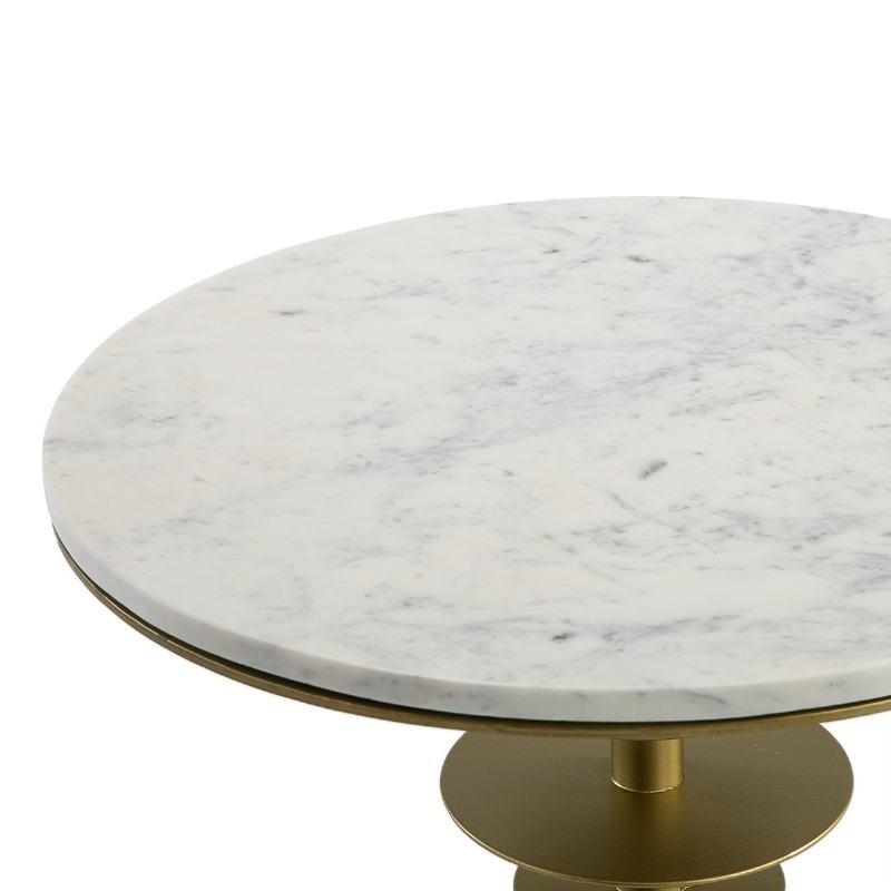 Table d'appoint, bout de canapé, bout de canapé 50x50x58 Marbre Blanc Métal Doré - image 51546