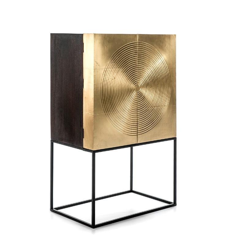 Mueble Bar 91X56X152 Madera Dorado Negro Metal Negro