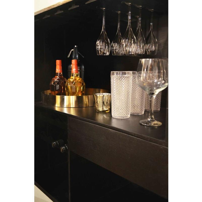 Mueble Bar 91X56X152 Madera Dorado Negro Metal Negro - image 51550
