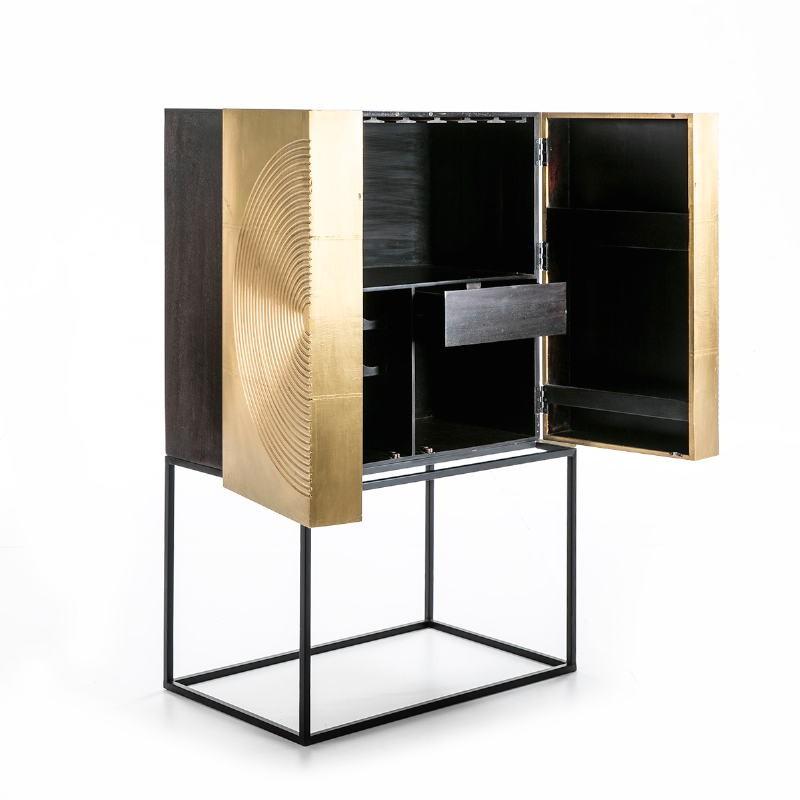 Mueble Bar 91X56X152 Madera Dorado Negro Metal Negro - image 51553