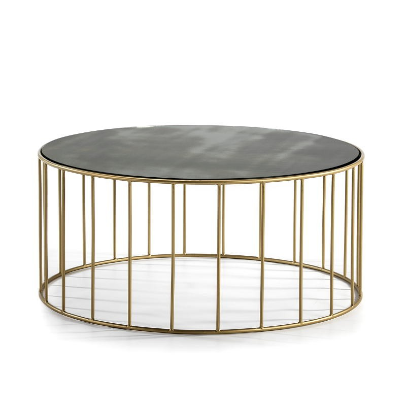 Coffee Table 101X101X45 Mirror Aged Metal Golden - image 51558