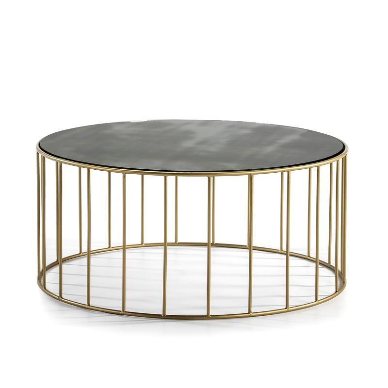 Table basse 101x101x45 Miroir Vieilli Métal Doré