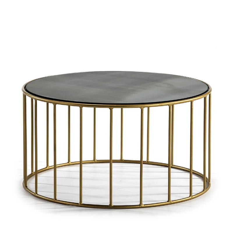 Side Table 76X76X40 Mirror Aged Metal Golden - image 51561