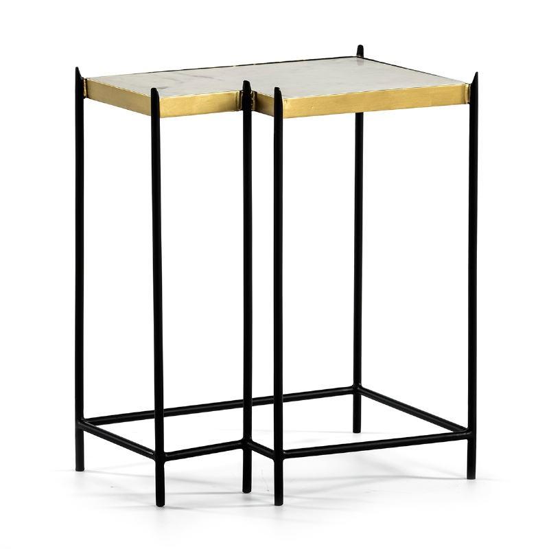 Table d'appoint, bout de canapé bout de canapé 48x32x60 Marbre Blanc Métal Doré Noir