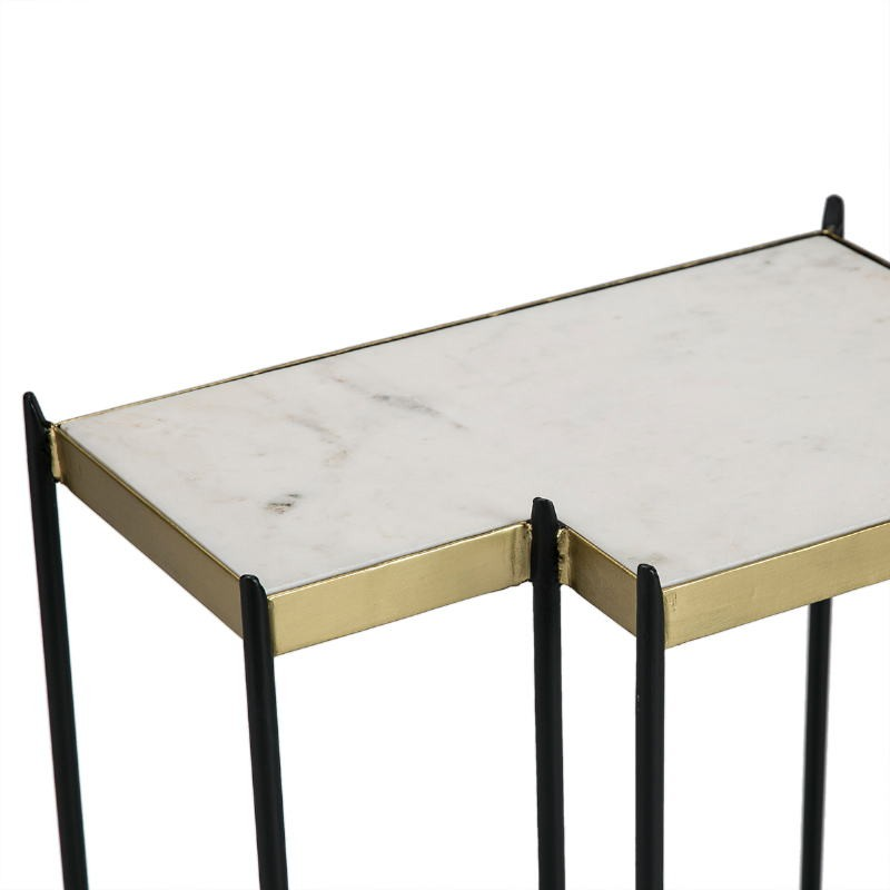 Side Table 48X32X60 Marble White Metal Golden Black - image 51564