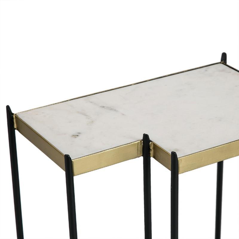 Table d'appoint, bout de canapé bout de canapé 48x32x60 Marbre Blanc Métal Doré Noir - image 51564