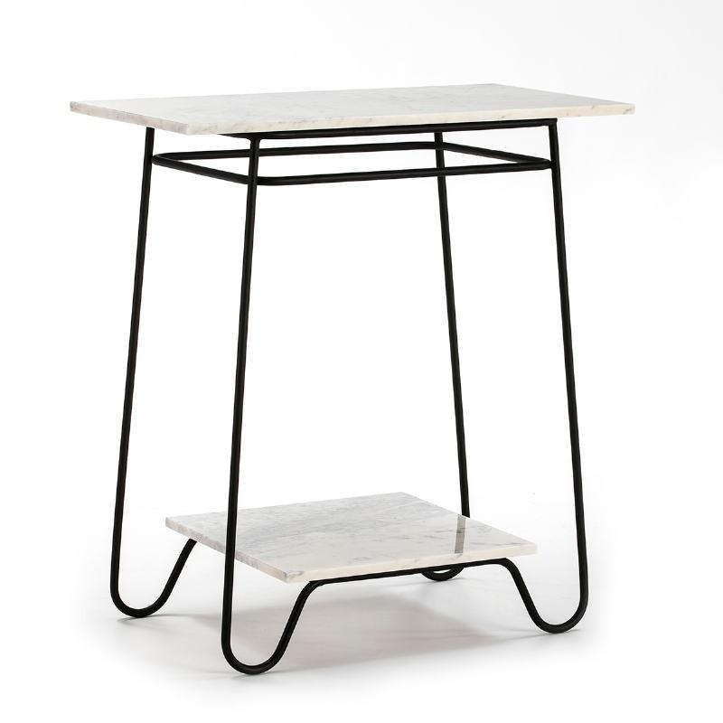 Table d'appoint, bout de canapé, bout de canapé 71x41x78 Marbre Blanc Métal Noir
