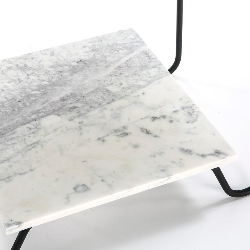 Side Table 71X41X78 Marble White Metal Black - image 51568
