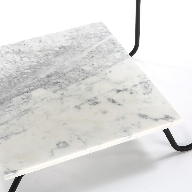 Table d'appoint, bout de canapé, bout de canapé 71x41x78 Marbre Blanc Métal Noir - image 51568