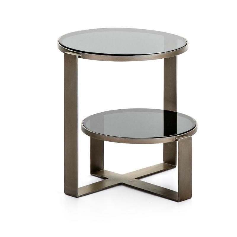 Table d'appoint, bout de canapé bout de canapé 53x46x51 Verre fumé Métal Argent Antique - image 51576