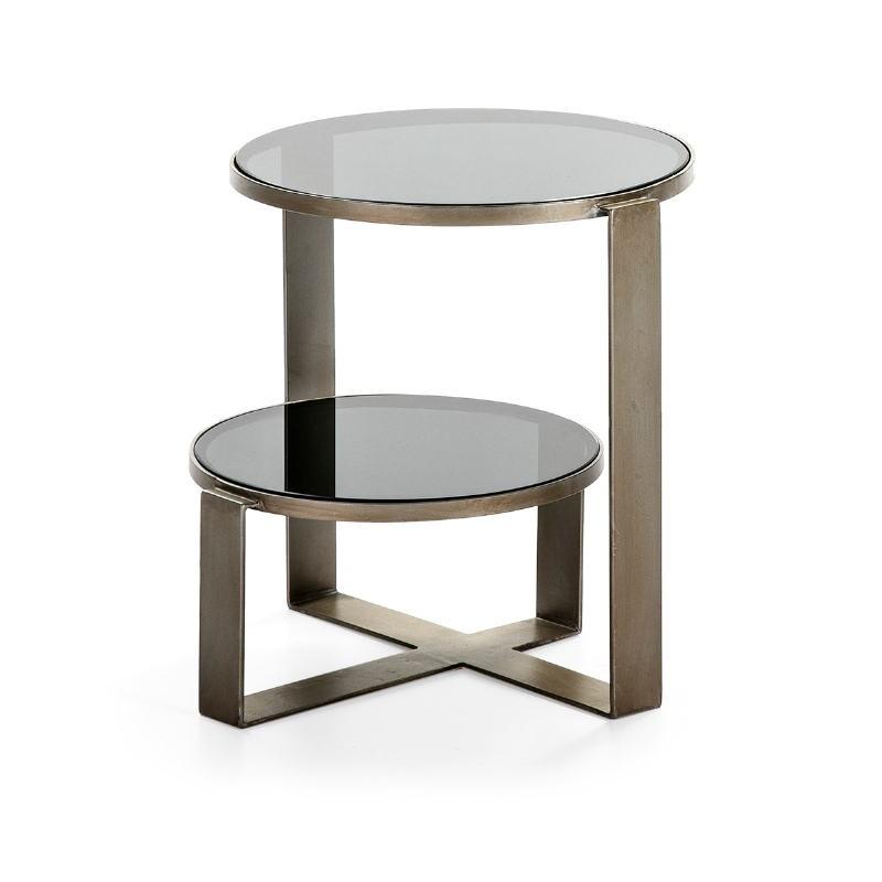 Table d'appoint, bout de canapé bout de canapé 53x46x51 Verre fumé Métal Argent Antique - image 51578