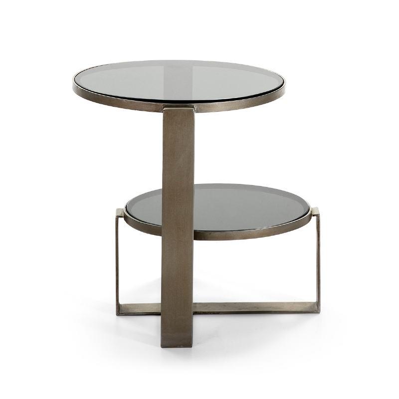 Table d'appoint, bout de canapé bout de canapé 53x46x51 Verre fumé Métal Argent Antique - image 51579
