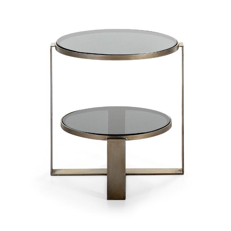 Table d'appoint, bout de canapé bout de canapé 53x46x51 Verre fumé Métal Argent Antique - image 51580