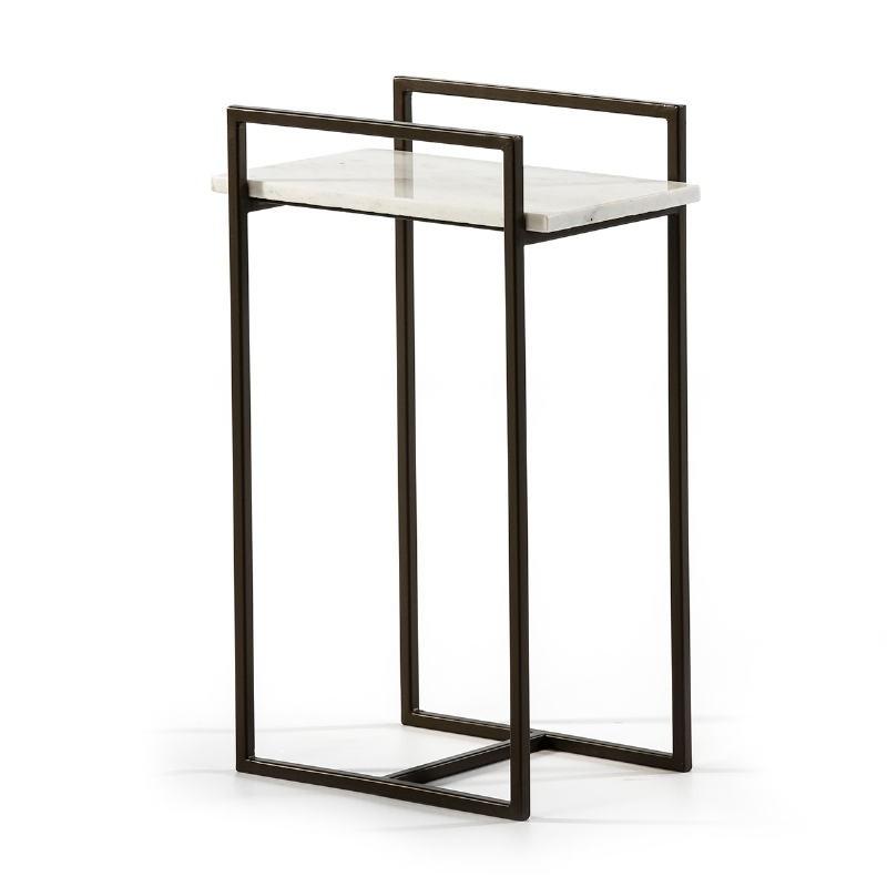 Side Table 36X23X56 Marble White Metal Black