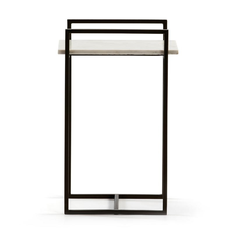Side Table 36X23X56 Marble White Metal Black - image 51584